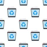 Πλήρες απορριμμάτων άνευ ραφής σχέδιο εικονιδίων δοχείων επίπεδο απεικόνιση αποθεμάτων