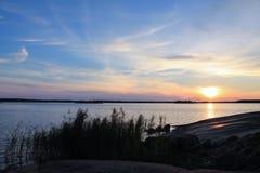 Πλήρες ηλιοβασίλεμα θάλασσας χρώματος στοκ εικόνες με δικαίωμα ελεύθερης χρήσης