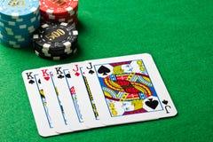 Πλήρες παιχνίδι πόκερ σπιτιών Στοκ Φωτογραφία