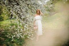 Πλήρες πορτρέτο OD ύψους μια ξανθή γυναίκα στο άσπρο φόρεμα με μια ανθοδέσμη που στέκεται κοντά στο ανθίζοντας δέντρο τη misty ημ στοκ φωτογραφίες με δικαίωμα ελεύθερης χρήσης