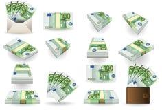 πλήρη εκατό σύνολα ευρώ τραπεζογραμματίων απεικόνιση αποθεμάτων