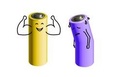 Πλήρως φορτισμένες και χαμηλές φορτισμένες μπαταρίες απεικόνιση αποθεμάτων