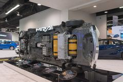 Πλαίσια της Toyota Mirai στην επίδειξη στοκ εικόνες