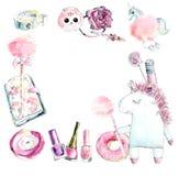 Πλαίσιο από τα ρόδινα πράγματα μονοκέρων και κοριτσιών Συρμένη χέρι απεικόνιση Watercolor ελεύθερη απεικόνιση δικαιώματος