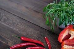 Πλαίσιο από τα φρέσκα λαχανικά στον αγροτικό ξύλινο πίνακα Στοκ Εικόνες