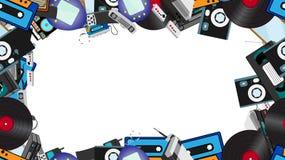 Πλαίσιο από την παλαιά αναδρομική ηλεκτρονική hipster, κινητά τηλέφωνα, TV, όργανο καταγραφής ταινιών, παίκτης, ακουστικές κασέτε ελεύθερη απεικόνιση δικαιώματος