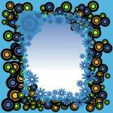 Πλαίσιο από τους κύκλους και τα λουλούδια Στοκ Εικόνες