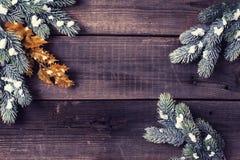 Πλαίσιο από το δέντρο γουνών κλάδων στο ηλικίας ξύλινο υπόβαθρο Στοκ Φωτογραφία