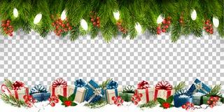 Πλαίσιο διακοπών Χριστουγέννων με τους κλάδους των κιβωτίων δέντρων και δώρων επάνω διανυσματική απεικόνιση