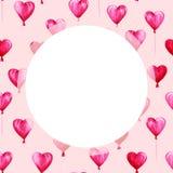 Πλαίσιο ημέρας βαλεντίνων του ST Watercolor Ρομαντικές ρόδινες καρδιές Για την κάρτα, το σχέδιο, την τυπωμένη ύλη ή το υπόβαθρο Στοκ εικόνες με δικαίωμα ελεύθερης χρήσης