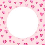 Πλαίσιο ημέρας βαλεντίνων του ST Watercolor Ρομαντικές ρόδινες καρδιές Για την κάρτα, το σχέδιο, την τυπωμένη ύλη ή το υπόβαθρο Στοκ Φωτογραφία