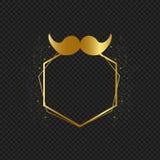 Πλαίσιο ημέρας πατέρων με το χρυσό moustache ελεύθερη απεικόνιση δικαιώματος