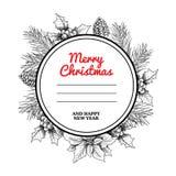 Πλαίσιο και στεφάνι κύκλων Χριστουγέννων με συρμένες τις χέρι χειμερινές εγκαταστάσεις Κλάδοι δέντρων πεύκων, κώνοι πεύκων, γκι κ διανυσματική απεικόνιση