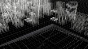 Πλαίσιο καλωδίων γραμμών ουρανού πόλεων επάνω από την όψη Στοκ Φωτογραφίες