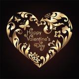 Πλαίσιο καρδιών ημέρας βαλεντίνων με το χρυσό floral πρότυπο Στοκ Φωτογραφία