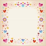 Πλαίσιο καρδιών και λουλουδιών στοκ φωτογραφία με δικαίωμα ελεύθερης χρήσης