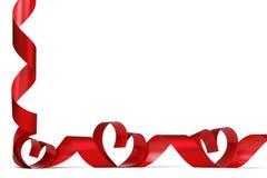 Πλαίσιο καρδιών κορδελλών Στοκ εικόνα με δικαίωμα ελεύθερης χρήσης