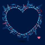 Πλαίσιο καρδιών με τις ζωηρόχρωμες σημειώσεις μουσικής Στοκ Φωτογραφία