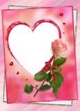 Πλαίσιο καρδιών με το ροδαλό κολάζ λουλουδιών Στοκ εικόνα με δικαίωμα ελεύθερης χρήσης
