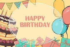 Πλαίσιο κειμένων Η πρόσκληση στη γιορτή γενεθλίων ελεύθερη απεικόνιση δικαιώματος