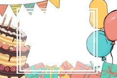 Πλαίσιο κειμένων Η πρόσκληση στη γιορτή γενεθλίων διανυσματική απεικόνιση