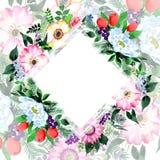Πλαίσιο λουλουδιών ανθοδεσμών σε ένα ύφος watercolor Στοκ Φωτογραφία