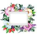 Πλαίσιο λουλουδιών ανθοδεσμών σε ένα ύφος watercolor Στοκ Εικόνες