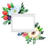 Πλαίσιο λουλουδιών ανθοδεσμών σε ένα ύφος watercolor Στοκ εικόνα με δικαίωμα ελεύθερης χρήσης