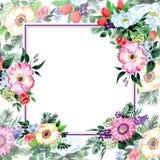 Πλαίσιο λουλουδιών ανθοδεσμών σε ένα ύφος watercolor Στοκ Φωτογραφίες