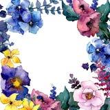 Πλαίσιο λουλουδιών ανθοδεσμών σε ένα ύφος watercolor Στοκ Εικόνα