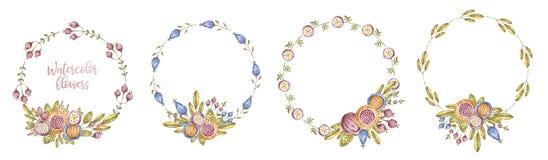 Πλαίσιο λουλουδιών κύκλων watercolour που τίθεται στο λευκό στοκ φωτογραφίες