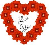 Πλαίσιο λουλουδιών με μορφή μιας καρδιάς απεικόνιση αποθεμάτων