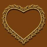 Πλαίσιο με μορφή του χρυσού χρώματος καρδιών με τη σκιά Στοκ φωτογραφίες με δικαίωμα ελεύθερης χρήσης