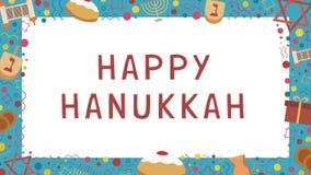 Πλαίσιο με τα επίπεδα εικονίδια σχεδίου διακοπών Hanukkah με το κείμενο στο engli