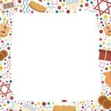 Πλαίσιο με τα επίπεδα εικονίδια σχεδίου διακοπών Hanukkah