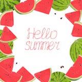 Πλαίσιο με τα καρπούζια Γειά σου καλοκαίρι απεικόνιση αποθεμάτων