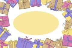 Πλαίσιο με τα κιβώτια δώρων Διανυσματική απεικόνιση στο ύφος σκίτσων Τα κιβώτια είναι δεμένα με τις κορδέλλες Πρότυπο Χλεύη επάνω απεικόνιση αποθεμάτων