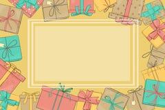 Πλαίσιο με τα κιβώτια δώρων Διανυσματική απεικόνιση στο ύφος σκίτσων Τα κιβώτια είναι δεμένα με τις κορδέλλες Πρότυπο Χλεύη επάνω ελεύθερη απεικόνιση δικαιώματος
