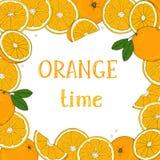 Πλαίσιο με τα πορτοκάλια Χέρια σχεδίων Θέση για το κείμενό σας ελεύθερη απεικόνιση δικαιώματος