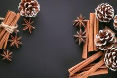 Πλαίσιο με τα ραβδιά κανέλας και το γλυκάνισο αστεριών Τοπ άποψη, διάστημα αντιγράφων στοκ φωτογραφία