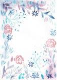 Πλαίσιο με τα ρόδινα λουλούδια Watercolor και τα ανοικτό μπλε φύλλα απεικόνιση αποθεμάτων