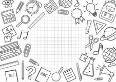 Πλαίσιο με τις σχολικές προμήθειες στο ελεγμένο υπόβαθρο r απεικόνιση αποθεμάτων