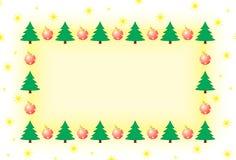 Πλαίσιο με το χριστουγεννιάτικο δέντρο και τις διακοσμήσεις στοκ φωτογραφία
