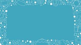 Πλαίσιο με Hanukkah διακοπών τα επίπεδα εικονίδια γραμμών σχεδίου άσπρα λεπτά