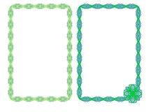 πλαίσιο Πλαίσια με τη διακόσμηση του πράσινου χρώματος Δικτυωτή διακόσμηση Πλαίσιο για μια φωτογραφία διακοσμητικά πλαίσια απεικόνιση αποθεμάτων