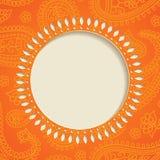 πλαίσιο πορτοκαλί Paisley Στοκ Εικόνα