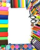 Πλαίσιο προμηθειών σχολείου και γραφείων Στοκ Εικόνα