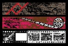 πλαίσιο ταινιών εμβλημάτων grunge κατασκευασμένο διανυσματική απεικόνιση
