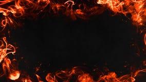 Πλαίσιο της κίνησης εγκαυμάτων φλογών πραγματικής πυρκαγιάς smpke στο απομονωμένο μαύρο υπόβαθρο διανυσματική απεικόνιση
