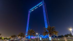 Πλαίσιο του Ντουμπάι που χτίζει τη νύχτα timelapse, νέα έλξη Ε.Α.Ε. φιλμ μικρού μήκους